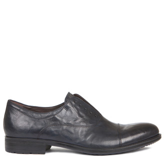 Men's Washed Navy Leather Slip-On Oxfords MP 7294919 NVA