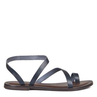 Women's Greek Style Navy Leather Sandals GA 5100019 NVA
