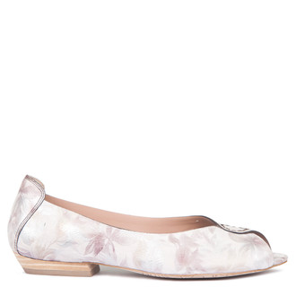 Women's Floral Print Leather Peep-Toe Ballerinas GP 5101019 PNF