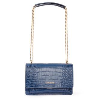Embossed Blue Leather Chain Trim Shoulder Bag San Marino XT 5131019 BUC