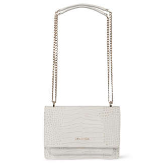 Embossed White Leather Chain Trim Shoulder Bag San Marino XT 5131019 WHC