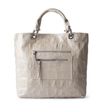 Light Beige Embossed Leather Tote Bag Florence YG 5481314 BGC