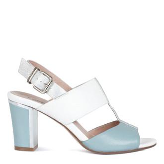 Women's White Block Heel Sandals GD 5182016 WGN