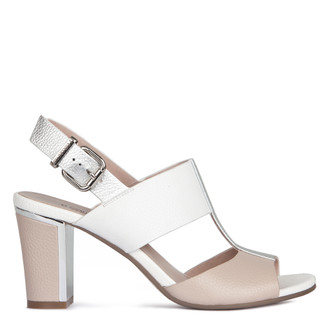 Women's White Taupe Leather Block Heel Sandals GD 5182018 TPW
