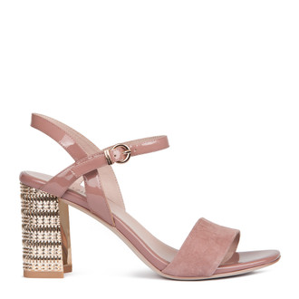 Women's Muted Pink Suede Statement Heel Sandals GF 5175418 PNS