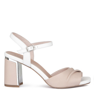 Women's Nude Grained Leather Sandals GD 5172019 TPW