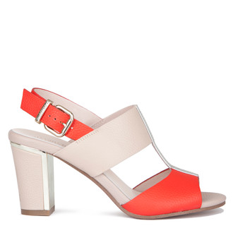 Women's Red and Beige Leather Sandals GD 5182019 RDW