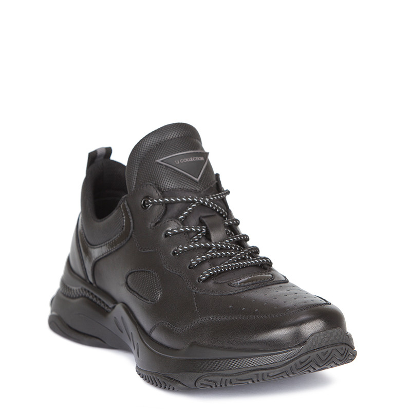 Men's Black Leather Sneakers with Reflective Details GL 7220119 BLK