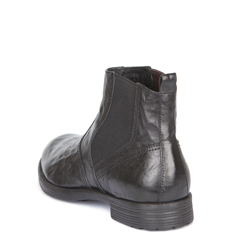 Men's Black Distressed Leather Chelsea Boots GN 7324419 BLA