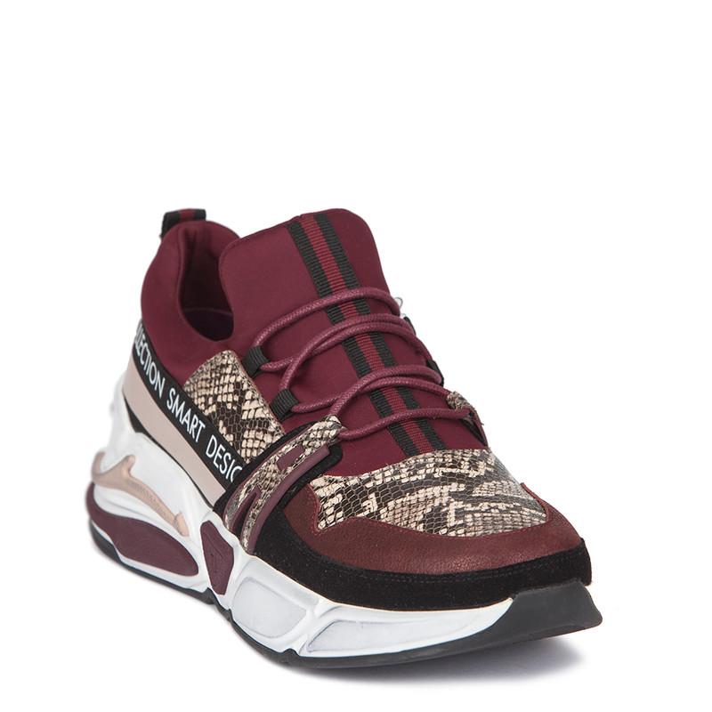 Women's Python Trim Burgundy Sneakers GS 5210639 BDZ