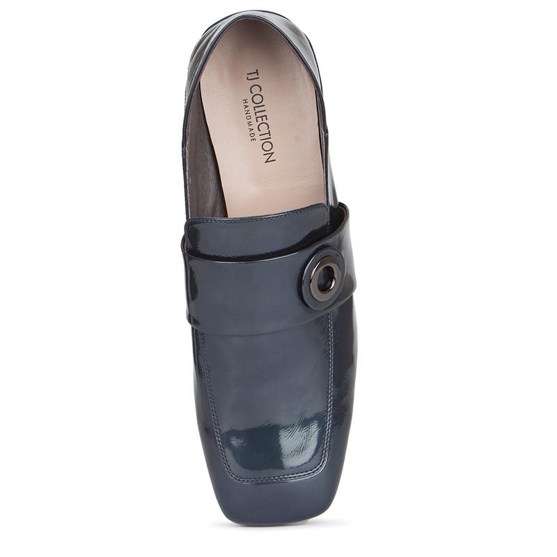 Women's Transforming Blue Patent Leather Slides GR 5228019 BUP