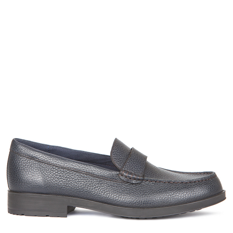Women's Navy Grained Leather Loafers MP 5229219 NVI