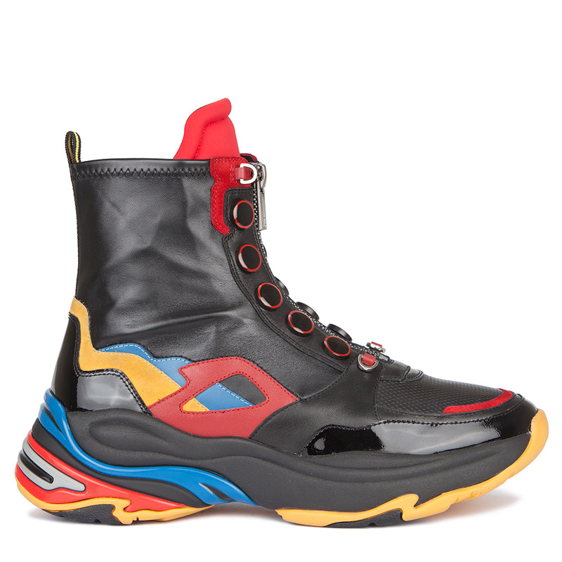 Women's Leather Zippered High-Top Comet Sneakers GS 5312639 BLM