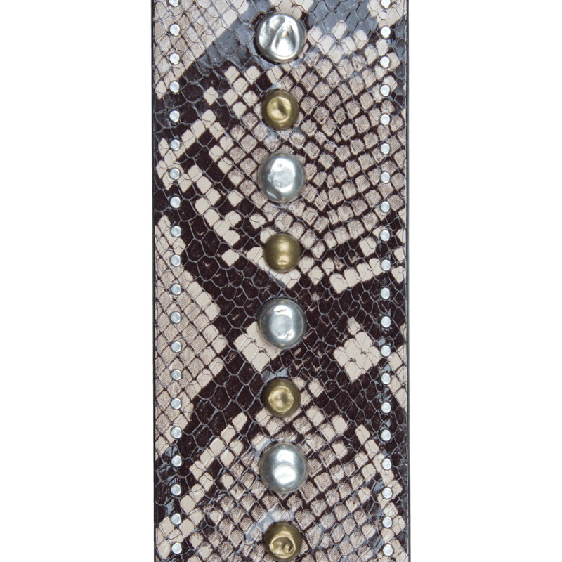Python Embossed Leather Strap Tracolla LS 5045019 BRZ