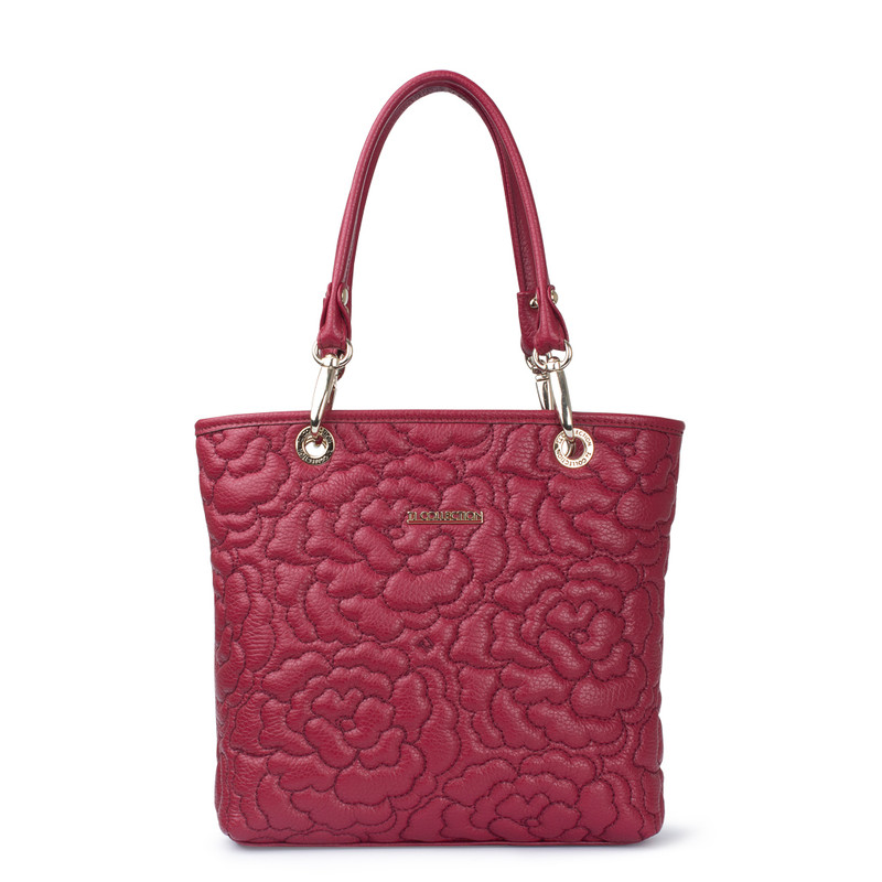 Peony Embroidered Red Leather Bag YM 5277719 BDA