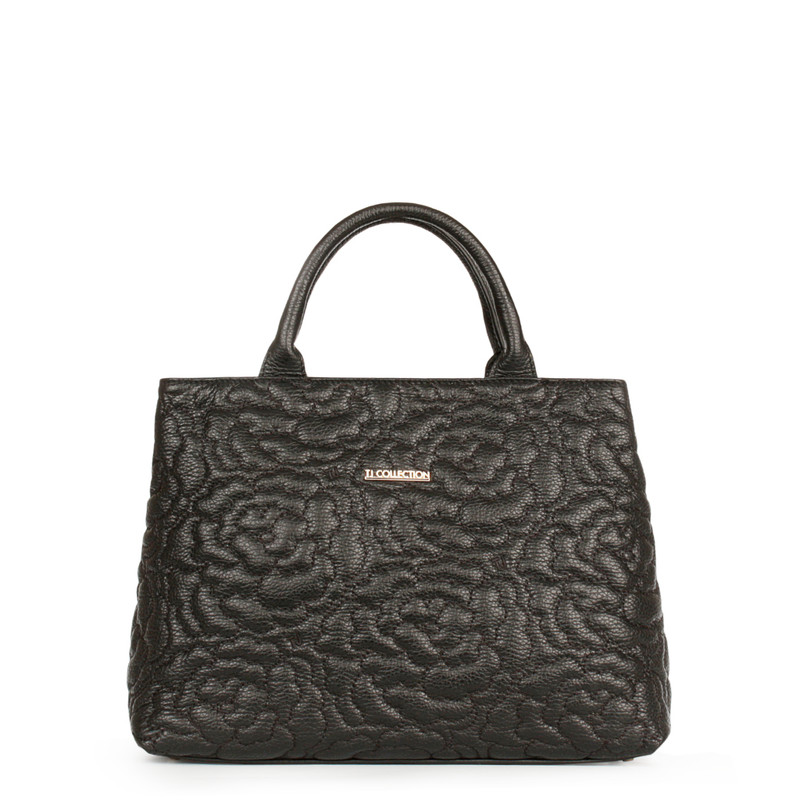 Embroidered Black Leather Bag Sofia YM 5350019 BLK