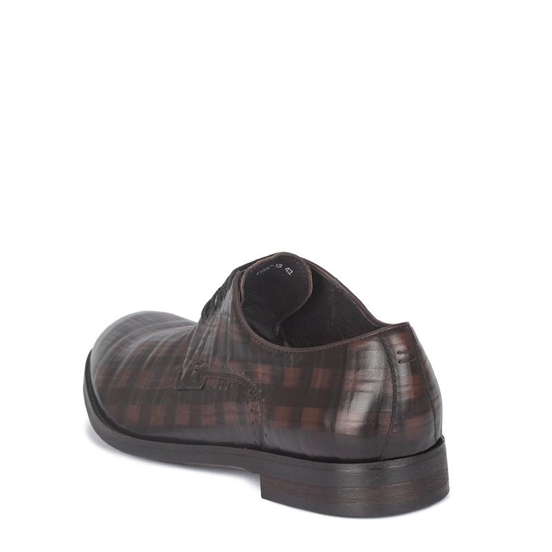 Men's Dark Brown Checkered Leather Derbies GB 7221010 DBA