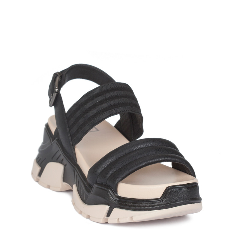 Women's Black & White Directional Leather Sandals GF 5129220 BLK