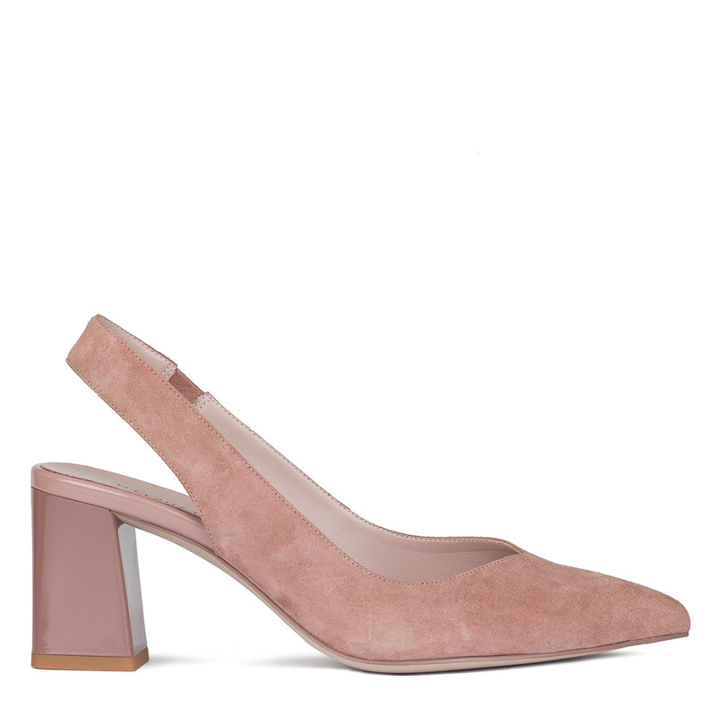 Women's Powder Pink Suede Slingback Courts GF 5167710 PNS
