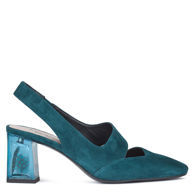 Women's Teal Slingbacks with Blue Feather Heel Trim GF 5169010 GNS