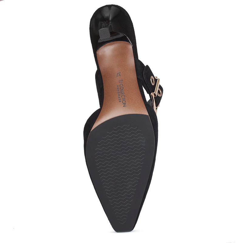 Women's Black Suede Kitten Heel Mules GJ 5170010 BLS