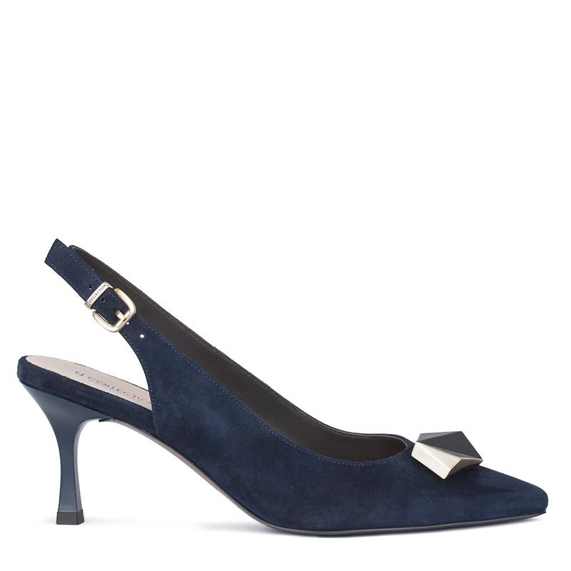 Women's Blue Suede Slingback Courts GJ 5170110 NVS