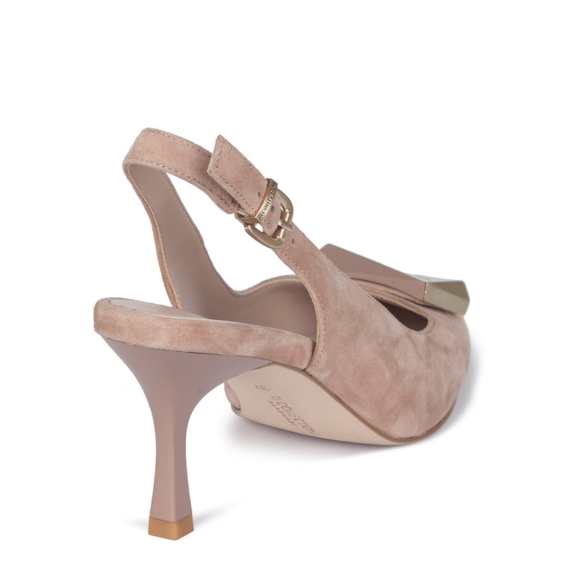Women's Powder Pink Suede Slingback Courts GJ 5170110 TPS