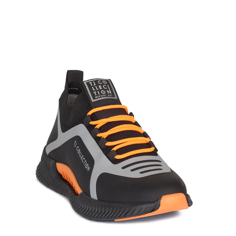 Men's Vibrant Black & Orange Pluto Sneakers GK 7206920 BLO