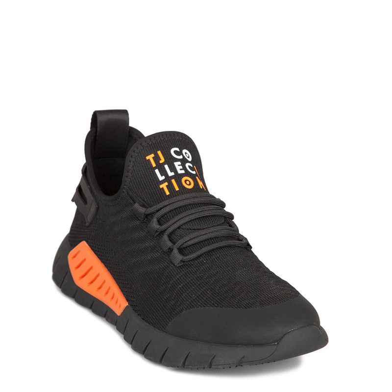 Men's Black and Orange Sport Chic Sneakers GK 7210920 BLO