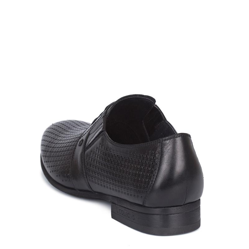 Men's Perforated Black Leather  Derbies GL 7119710 BLK