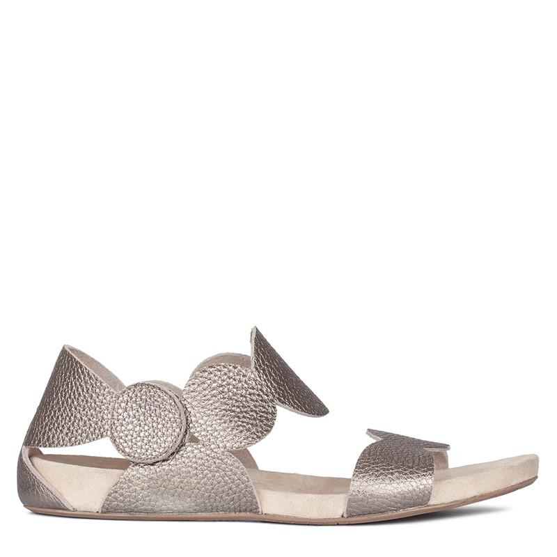 Women's Platinum Leather Velcro Strap Sandals GP 5124410 PLZ