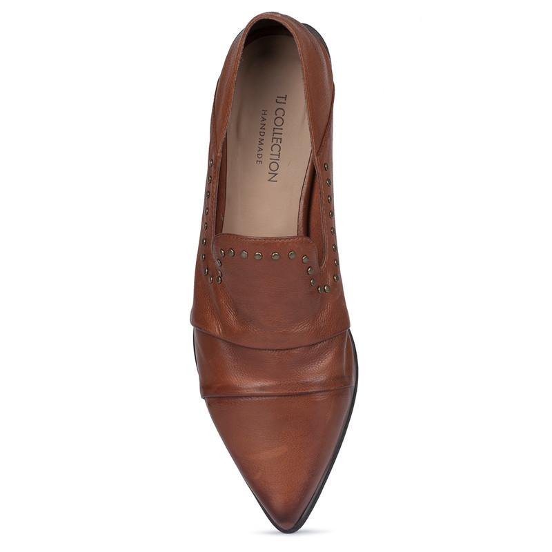 Women's Terracotta Brown Leather Slip-Ons GP 5221810 CGA
