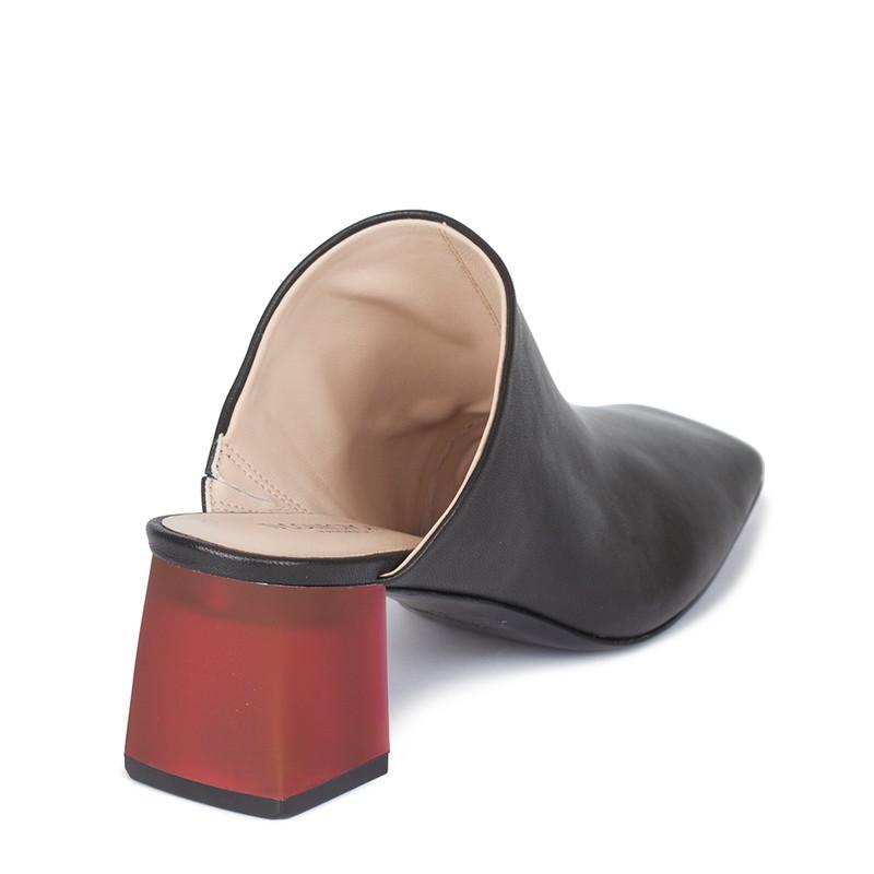 Women's Black Leather Mules GR 5155010 BLR