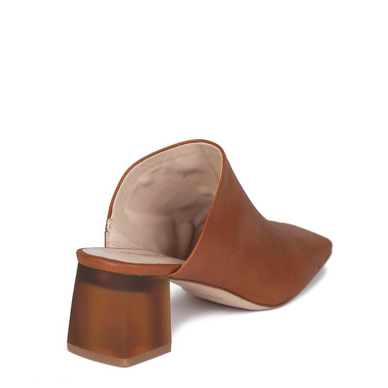 Women's Cognac-Brown Leather Mules GR 5155010 CGZ