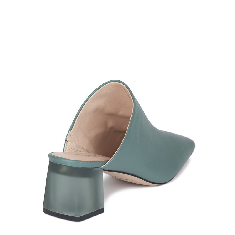 Women's Turquoise Leather Mules GR 5155010 GNA