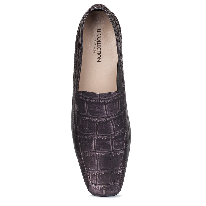Women's Purple Reptile-Embossed Leather Loafers GR 5230010 BLZ