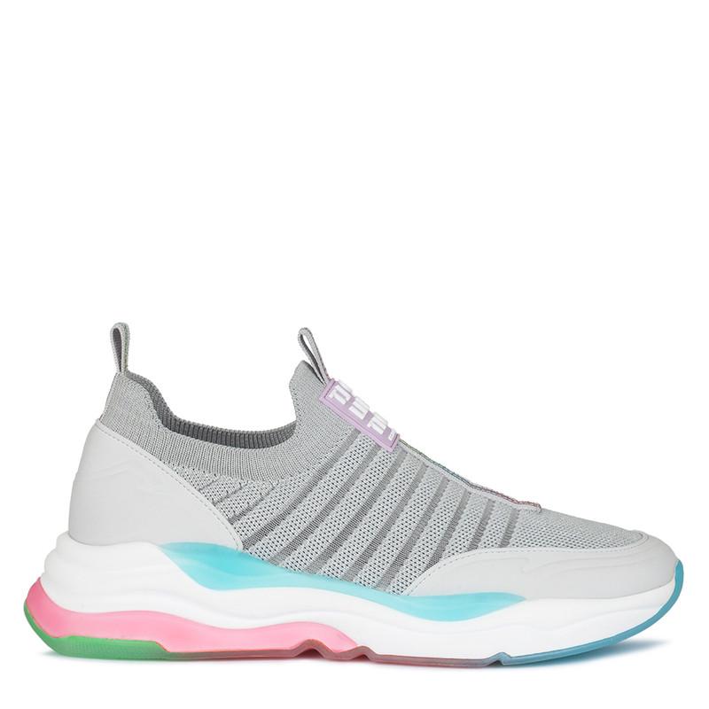 Women's Light Grey Rainbow Sneakers GS 5110820 SLM
