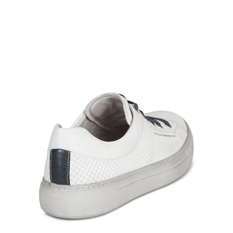 Men's White Embossed Leather Sneakers TL 7225210 WHU