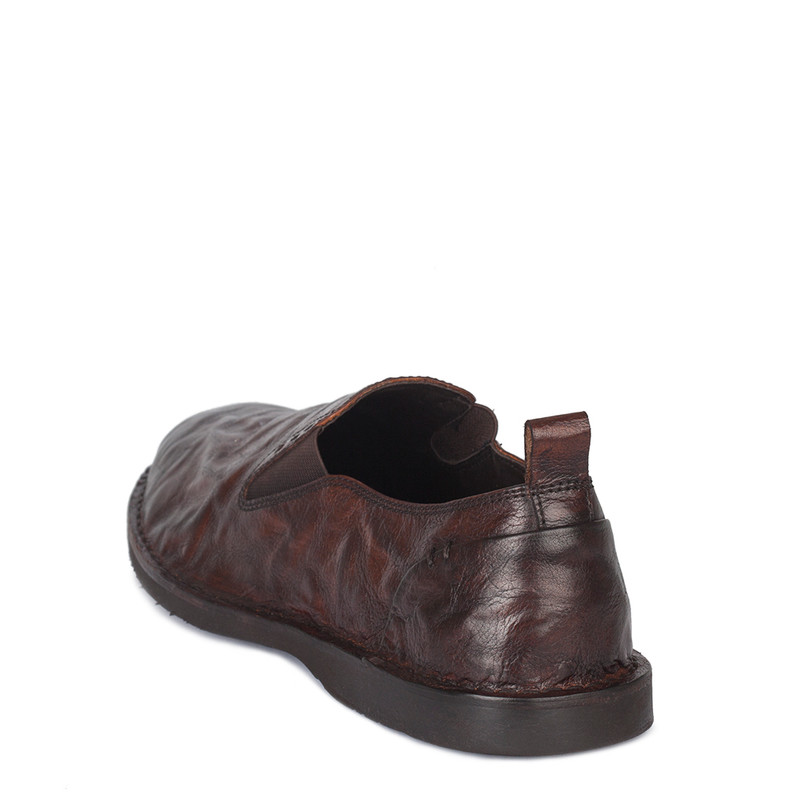 Men's Cognac Brown Washed Leather Slip-Ons TN 7201210 CGA