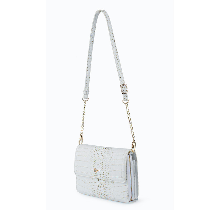 Ivory White Embossed Leather Mini Bag Vienna YA 5120910 WHC  | TJ COLLECTION | Side Image - 1