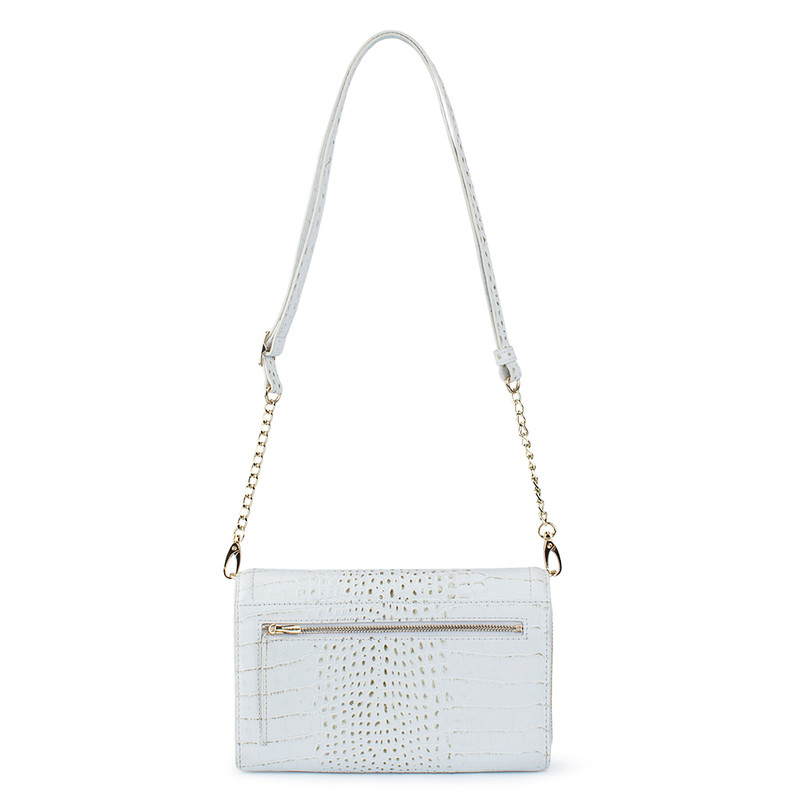 Ivory White Embossed Leather Mini Bag Vienna YA 5120910 WHC  | TJ COLLECTION | Side Image - 2