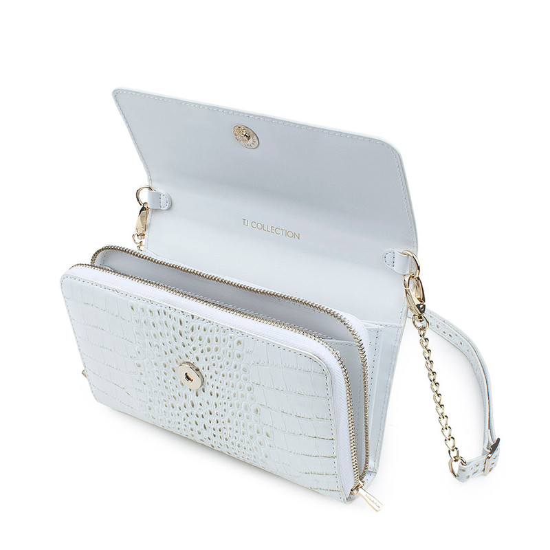 Ivory White Embossed Leather Mini Bag Vienna YA 5120910 WHC  | TJ COLLECTION | Side Image - 3