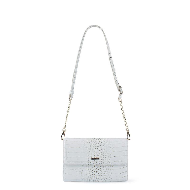 Ivory White Embossed Leather Mini Bag Vienna YA 5120910 WHC
