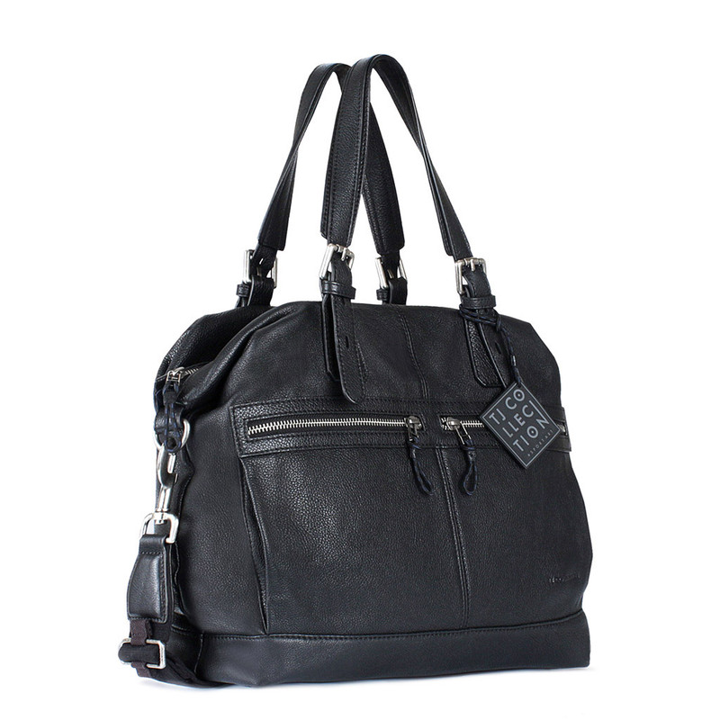 Black Textured Leather Handle Bag Berlin YG 8420812 BLK