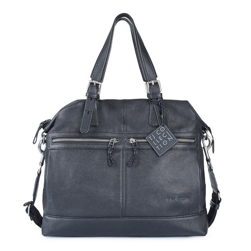 Black Textured Leather Handle Bag Berlin YG 8420812 BLK