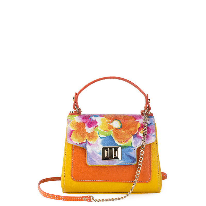 Yellow and Orange Leather Mini Summer Bag YM 5112010 YLM