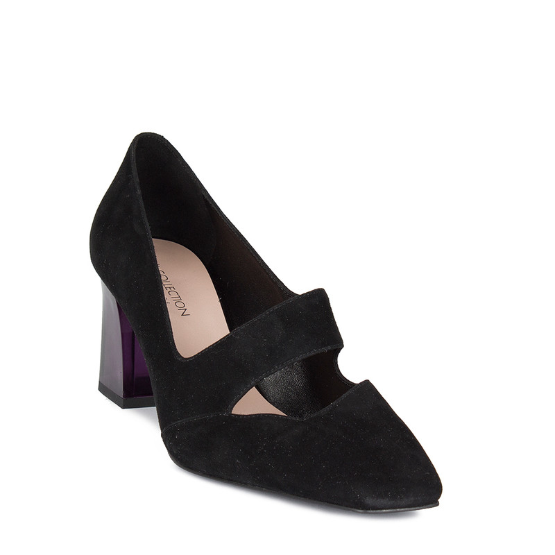 Women's Black Suede Pumps GF 5269010 BLS