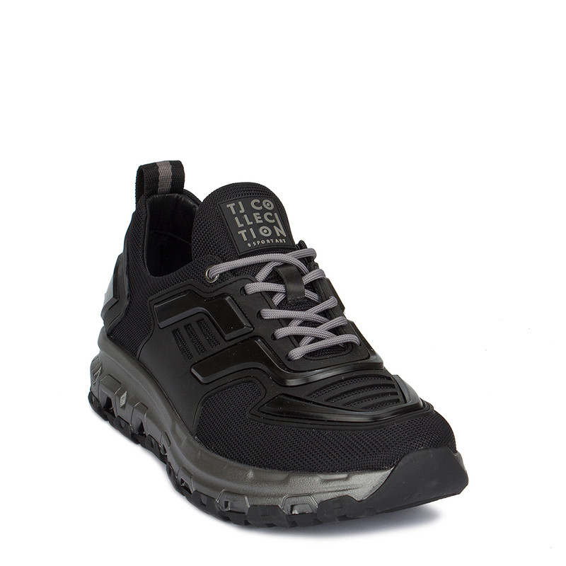 Men's Fashion-Forward Black Textile Sneakers GK 7216920 BLK
