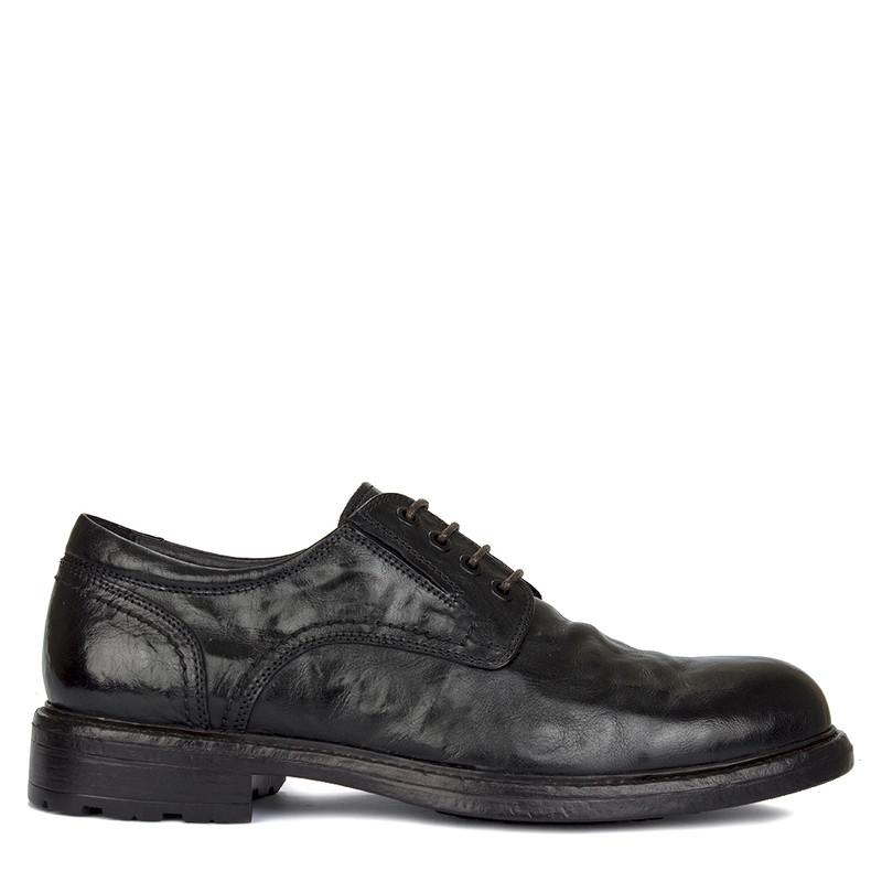 Men's Black Washed Leather Winter Derbies GN 7728619 BLB