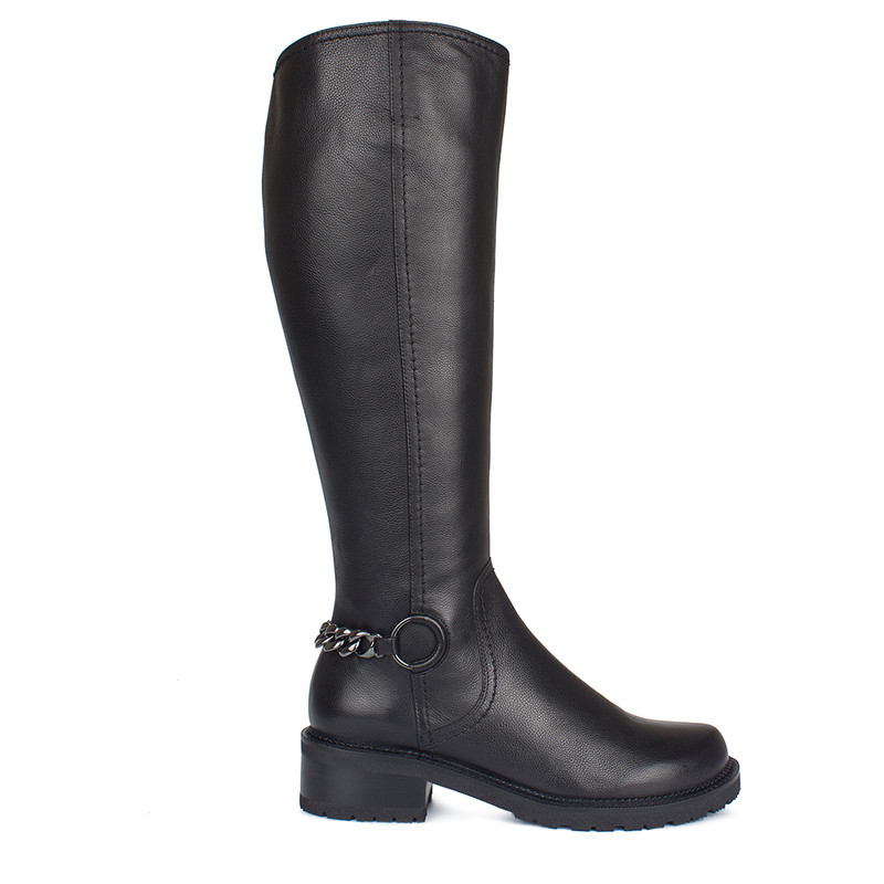 Women's Tall Leather Boots with Chain  GP 5435310 BLK